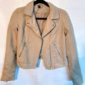H&M cream moto jacket with silver hardware
